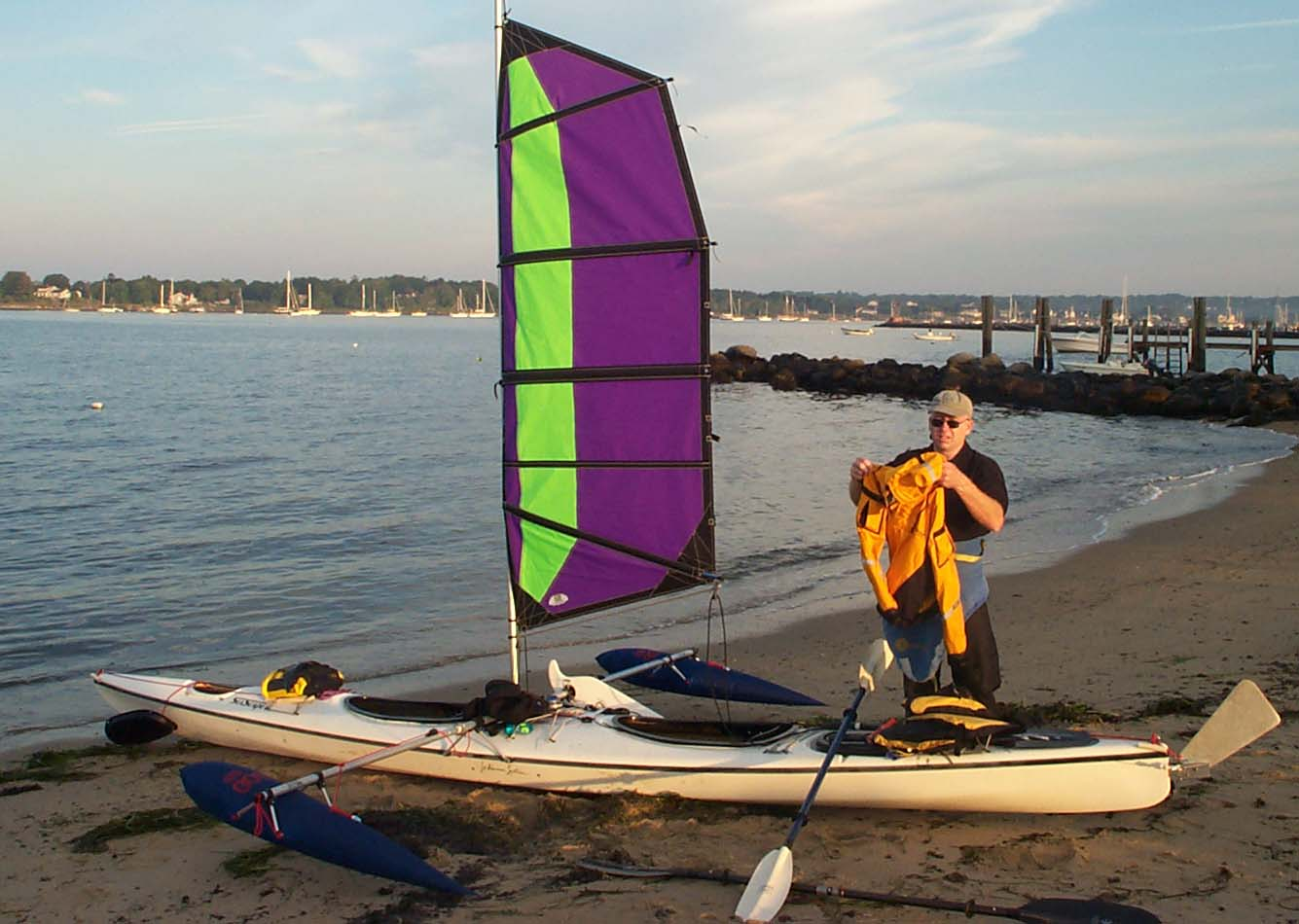 Kayak Sailing with Balogh Sail Designs   Wind Against Current