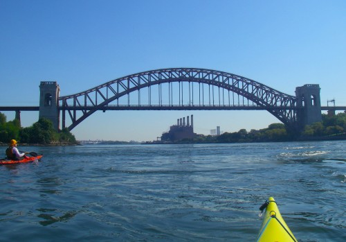 We paddle under the Hell Gate Bridge