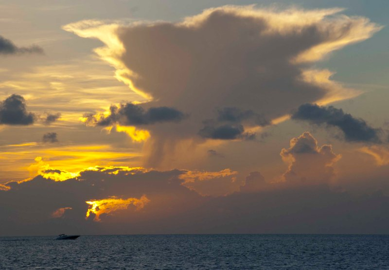 August: Sunrise over the ocean in Key Biscayne, Florida