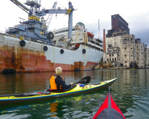 The Loujaine and the grain elevator in Gowanus Bay, from a kayak