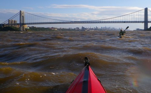 Wind against current in the Hudson River