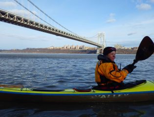 After a tasty lunch rafted up in the lee of a rocky embankment, we leave the George Washington Bridge behind...