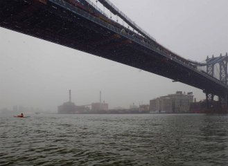Under the Manhattan Bridge, the visibility is really closing in