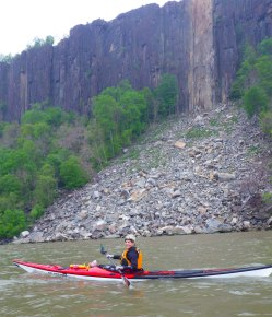 We paddle back, past the large rockfall that last summer blocked the Palisades hiking path