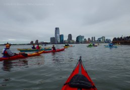 Later, at the start off Pier A, the kayakers gather