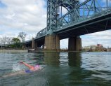 Safely in the Harlem River, Katy powers toward the RFK (formerly Triborough) Bridge