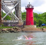 Spectators watch from the Little Red Lighthouse