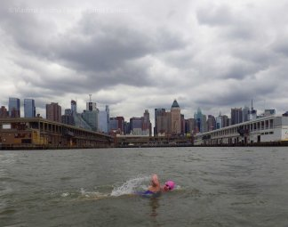 Midtown Manhattan, under gray skies