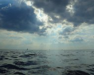 Liquid silver sea and sky