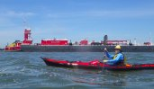 ... as we paddle through the Bay Ridge anchorage (photo by Johna)