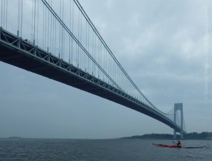 We pass under the Verrazano-Narrows Bridge