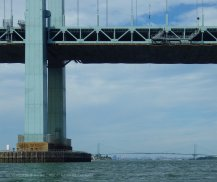 Just before rounding Throgs Neck, we look back at tiny Manhattan