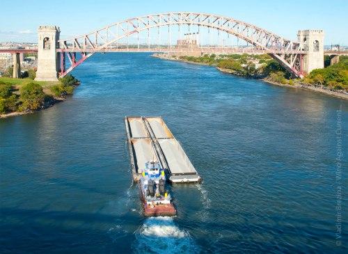 Barge Approaching Hell Gate Bridge