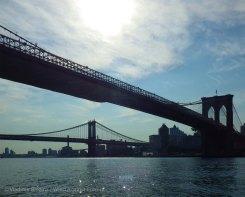 Hazy sun as we approach the East River Bridges