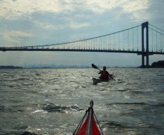We paddle under the Bronx-Whitestone Bridge again