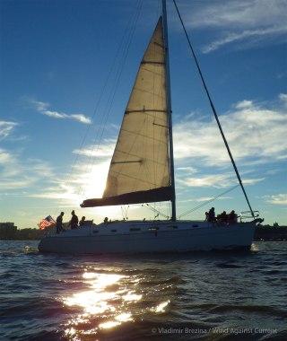 Sailboat enjoying the brisk wind