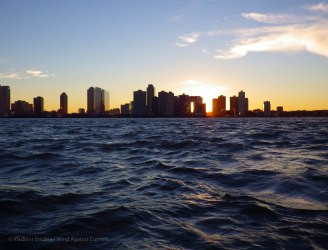Across the Hudson, the sun is setting