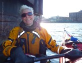 We raft up for tea in the shelter of our favorite barge off Randalls Island