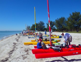 We arrive and claim a spot on the launch beach. The beach is still comparatively uncrowded, compared to the way it will be in a couple of hours...