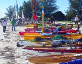 A line-up of kayaks with names we already recognize