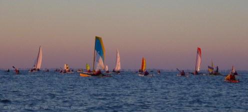 The colorful flotilla ahead