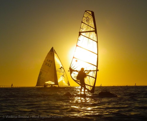 Backlit windsurfer