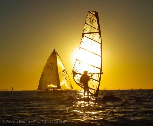 Backlit windsurfer