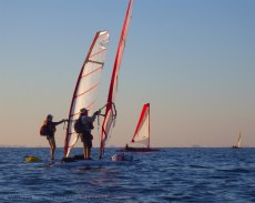The windsurfers stick together