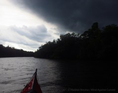 Out in broader waterways again... but the storm front overtakes us