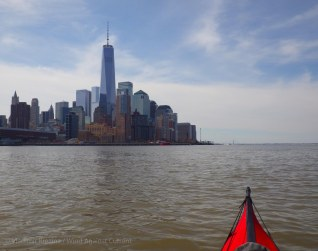 We leave Pier 40 and paddle down the Hudson
