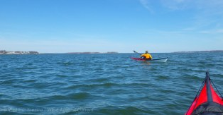 We paddle out into the broad Long Island Sound