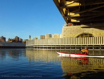 Under the Harlem River bridges in the late-afternoon sun