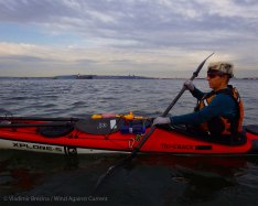 We paddle through the Bay Ridge Anchorage