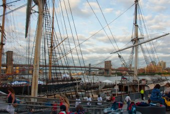 At the South Street Seaport. Hurricane Arthur has passed by NYC during the day and the clouds are clearing