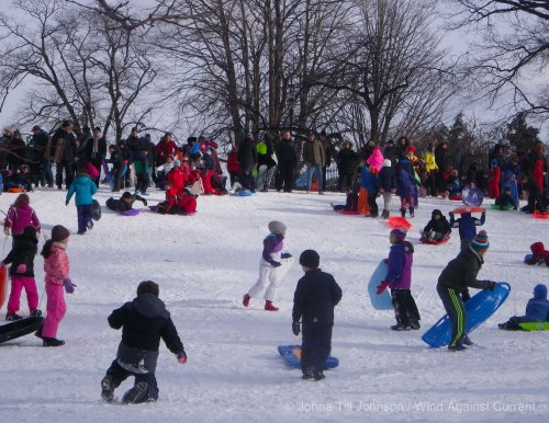 Sledding in Carl Schurz Park