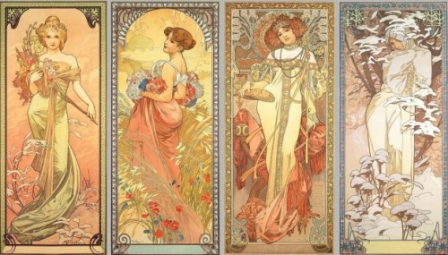 "Alfons Mucha, ""The Seasons"", 1900 series"
